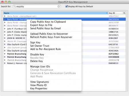 key management - mac version of enigmail